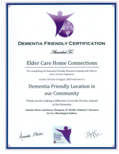 ECHC Dementia Friendly certificate